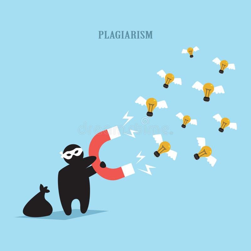 Een plagiaat, een imitator, een plagiaat van een idee, een maliciously het kijken cijfer van een dief, een stealing idee, een lic vector illustratie