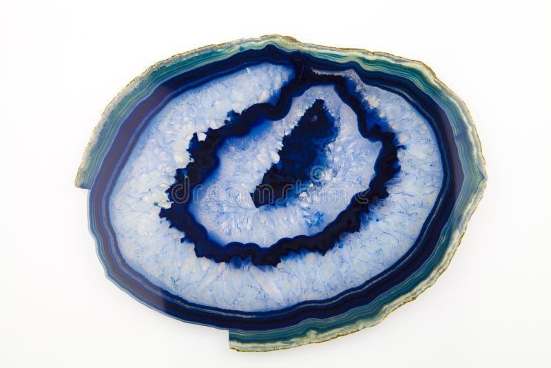 Een plak van blauw agaat royalty-vrije stock afbeeldingen