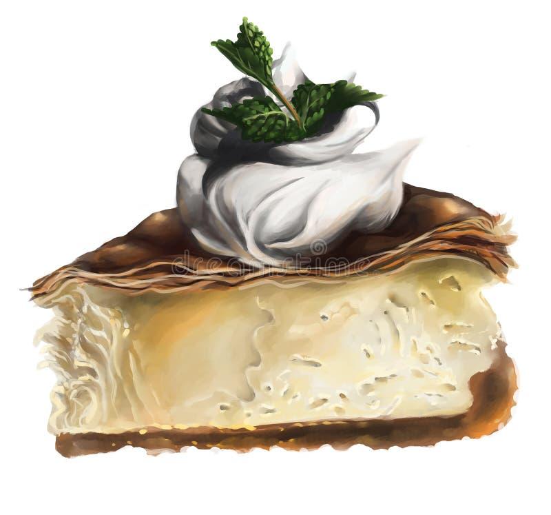 Een plak van kaastaart met slagroombovenste laagje en munt vector illustratie