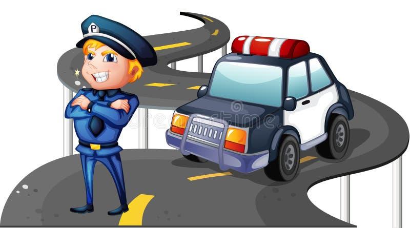 Een politie en zijn patrouillewagen in het midden van de weg royalty-vrije illustratie