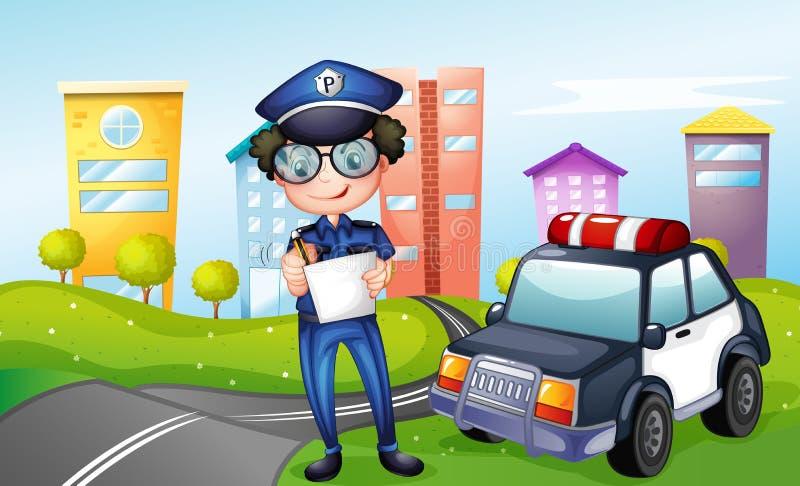 Een politieagent bij de straat stock illustratie