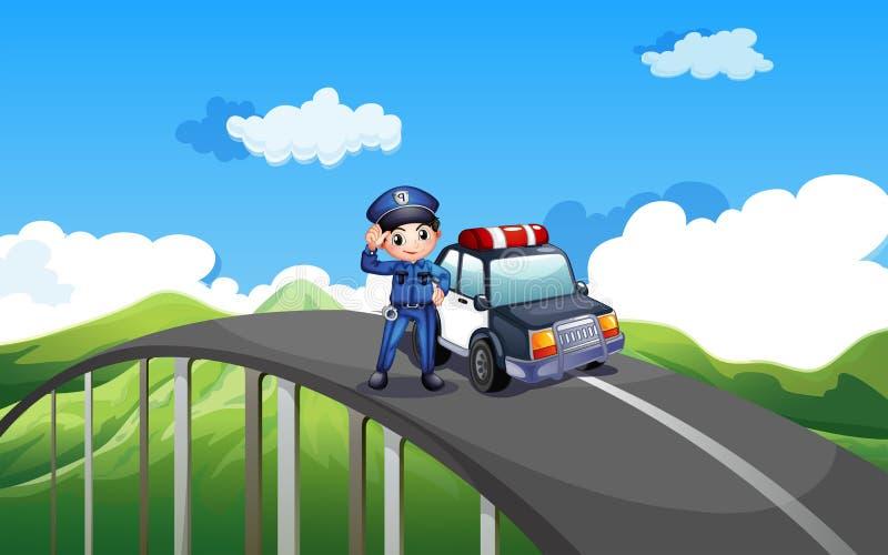 Een politieagent en zijn patrouillewagen in het midden van de weg royalty-vrije illustratie