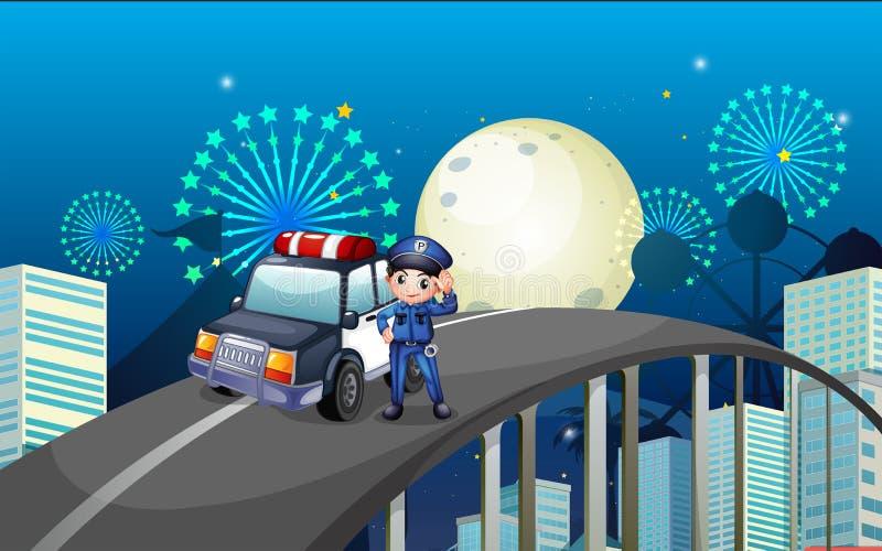 Een politieagent en zijn patrouillewagen in het midden van de weg vector illustratie