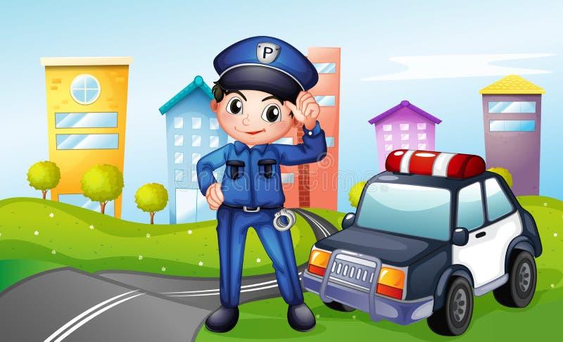 Een politieagent met een politiewagen langs de straat vector illustratie