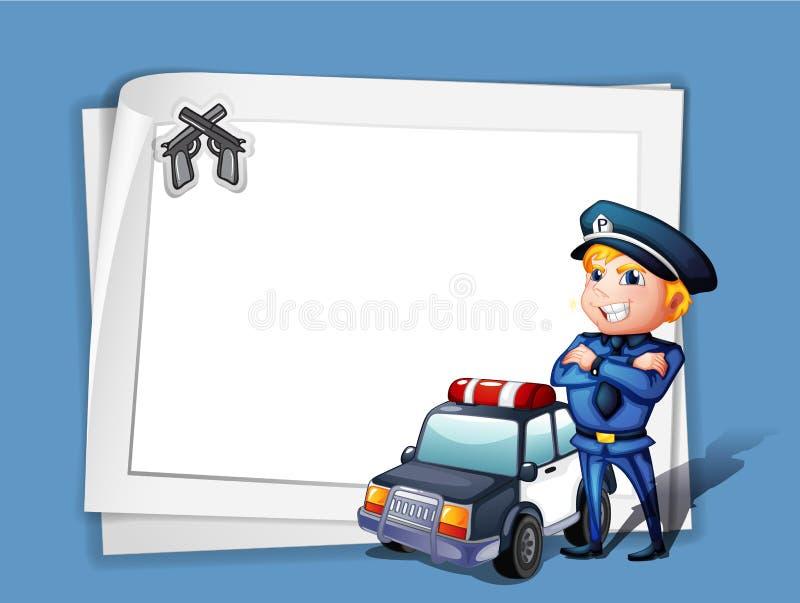 Een politieagent met een politiewagen naast een leeg document stock illustratie