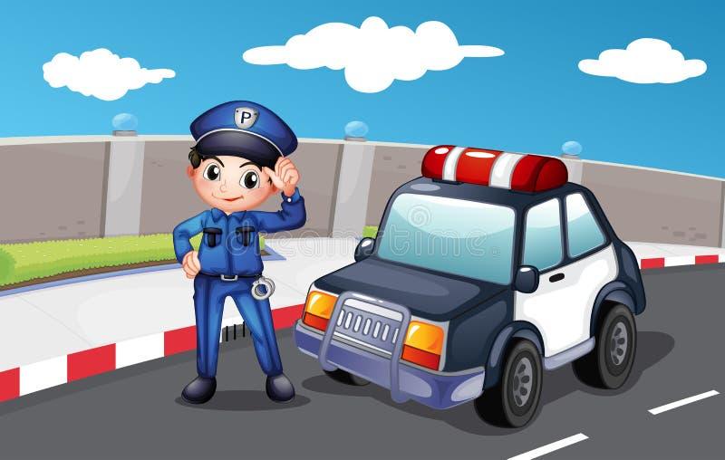 Een politieman bij de straat royalty-vrije illustratie