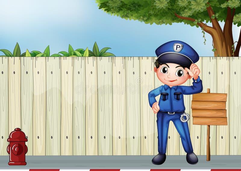 Een politieman naast lege houten signage stock illustratie