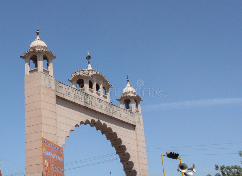 Een poort in Rajpura, een belangrijke industriële stad van Punjab, India stock afbeelding
