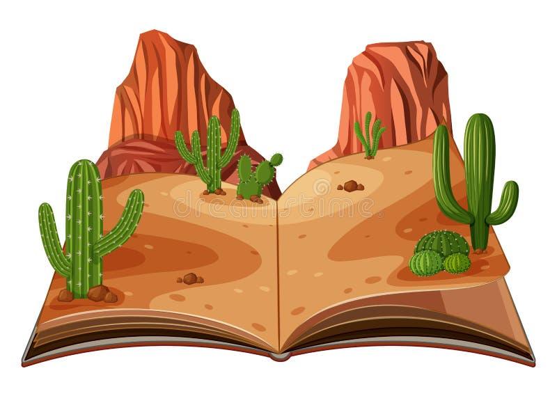Een pop omhooggaande scène van de boekwoestijn stock illustratie