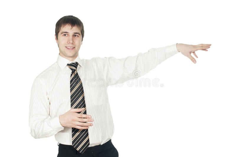 Een portret van een jonge zakenman die zijn wapen houdt royalty-vrije stock afbeelding