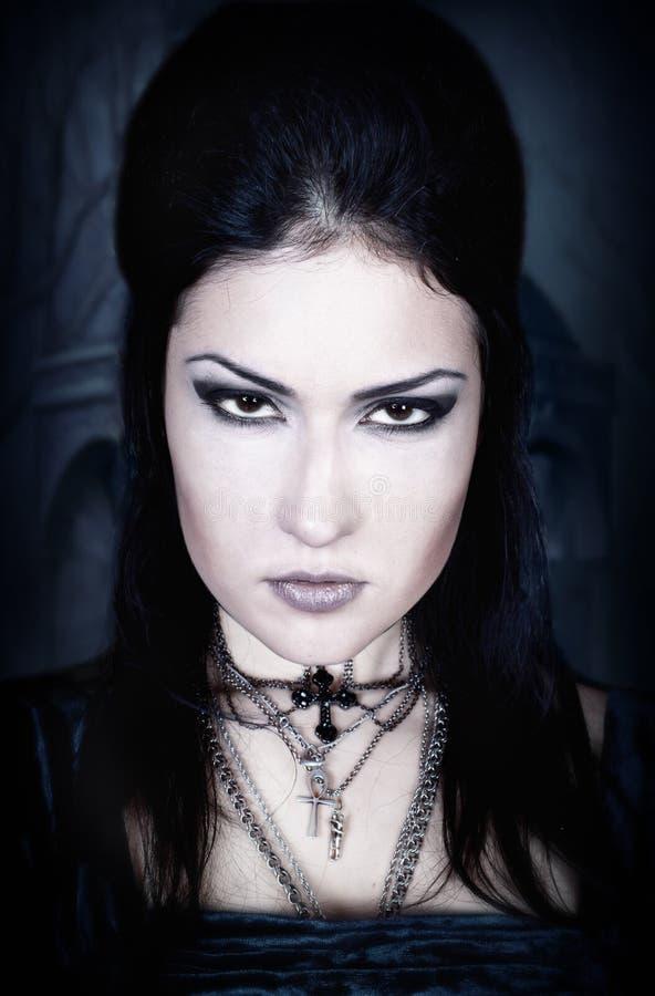 Een portret van het meisje in Gotische stijl stock foto