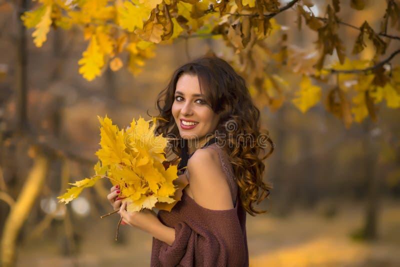 Een portret van een mooie jonge vrouw in de herfst boslifes stock afbeeldingen