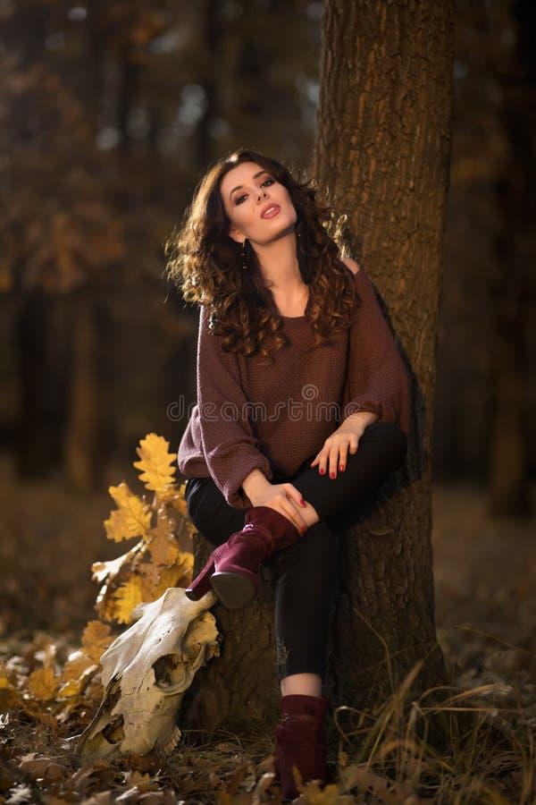Een portret van een mooie jonge vrouw in de herfst boslifes royalty-vrije stock foto's