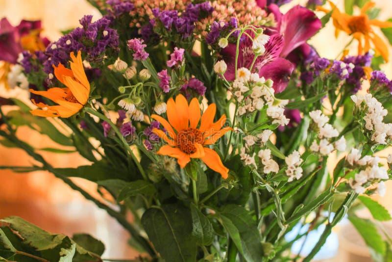 Een prachtig boeket van purpere en gele wilde bloemen Kleine gebiedsbloemen witte wildflowers in een boeket klokken in een boeket stock foto's