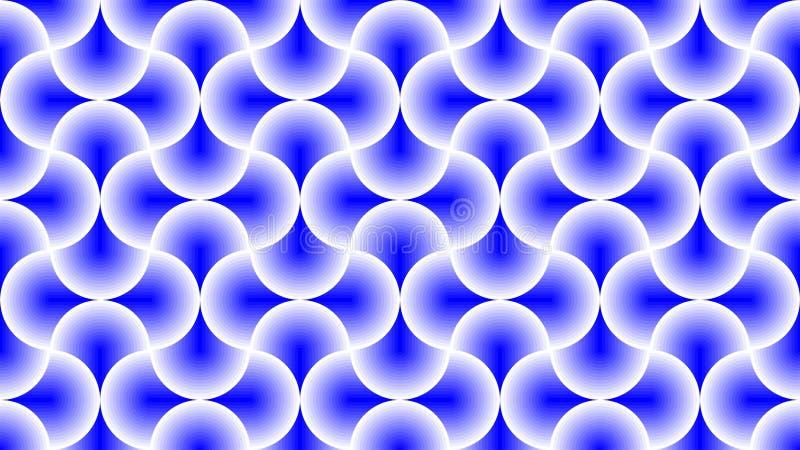 Een prachtige achtergrond voor een groep doorweven en gradiëntcirkels in kleuren tussen wit en blauw, en een geometrische samenva vector illustratie