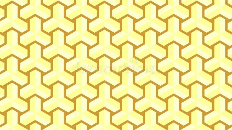 Een prachtige achtergrond voor een hexagonaal-gevormde groep die uit gouden en bruin, abstract geometrisch patroon bestaan royalty-vrije illustratie