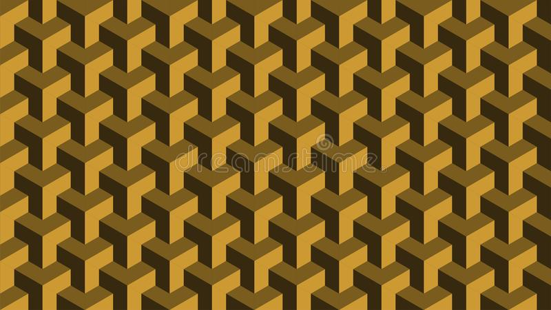 Een prachtige achtergrond voor een hexagonaal-gevormde groep die uit gouden en bruin, abstract geometrisch patroon bestaan stock fotografie
