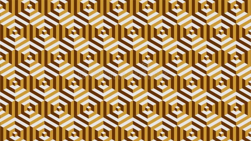 Een prachtige achtergrond voor een hexagonaal-gevormde groep die uit gouden en bruin, abstract geometrisch patroon bestaan vector illustratie
