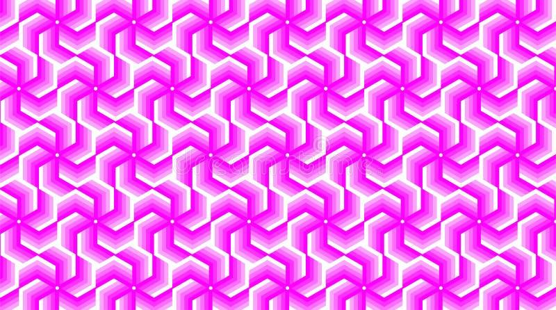 Een prachtige achtergrond voor een hexagonaal-gevormde groep die uit magenta en witte kleur bestaan, vat geometrisch patroon same royalty-vrije illustratie