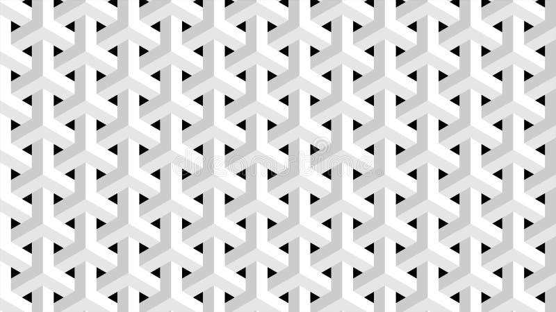 Een prachtige achtergrond voor een hexagonaal-gevormde groep die uit wit en zwart, abstract geometrisch patroon bestaan stock illustratie