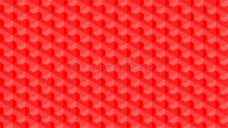 Een prachtige achtergrond voor een hexagonale en driehoekige gestalte gegeven groep die uit rode kleur bestaan, vat geometrisch p vector illustratie