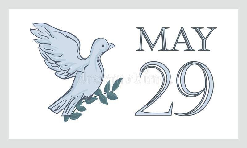 Een prentbriefkaar tegen 29 Mei is de internationale dag van de Verenigde Naties van de vredeskorpsenv.n. Duif, duif stock illustratie