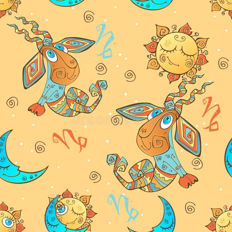 Een pret naadloos patroon voor jonge geitjes Dierenriemteken Steenbok Vector royalty-vrije illustratie