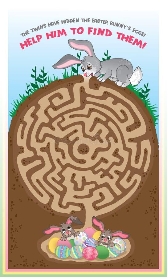 Het labyrint van de paashaas voor jonge geitjes! stock illustratie