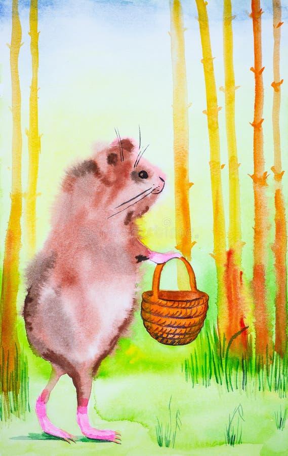 Een Proefkonijn met een mand die zich alleen in de bos Grappige waterverfillustratie bevinden stock illustratie