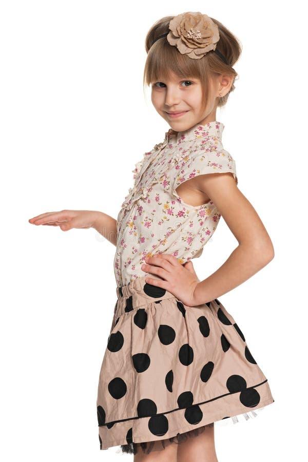 Mooi jong meisje op de witte achtergrond royalty-vrije stock afbeelding