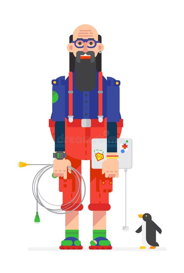 Een programmeur, een hakker in een beeldverhaal vlakke stijl die wordt getrokken Illustratie van het karakter van de hakker Het b royalty-vrije illustratie