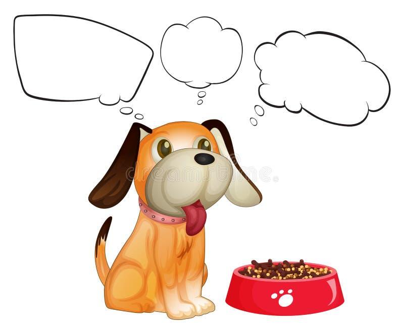Een puppy naast zijn dogfood met lege callouts vector illustratie