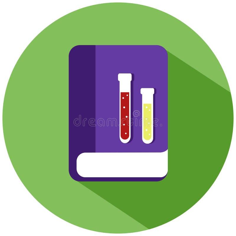 Een purper chemisch boek met flessen met vloeistof in een groene die cirkel, op witte achtergrond wordt geïsoleerd Het pictogram  stock illustratie