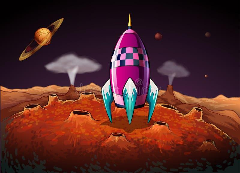 Een raket bij outerspace dichtbij de planeten royalty-vrije illustratie