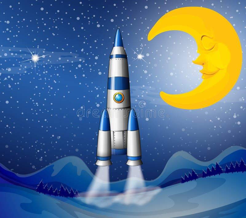 Een raket die naar de hemel met een slaapmaan gaan stock illustratie