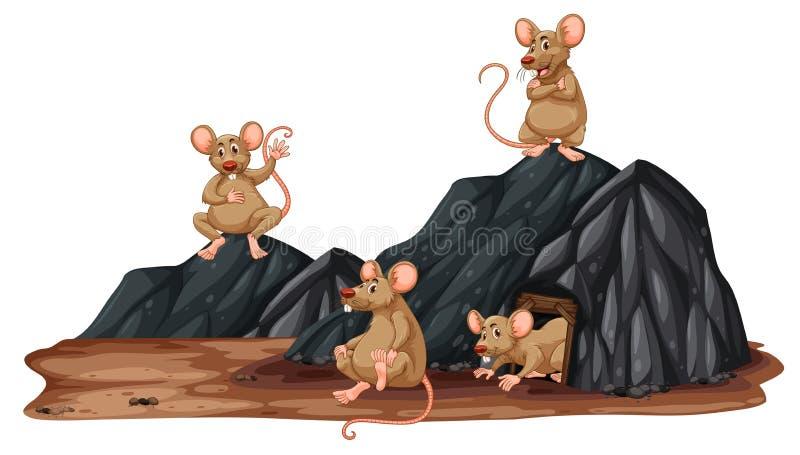 Een rat in een gat royalty-vrije illustratie
