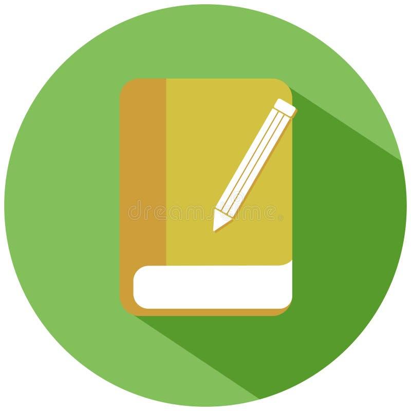 Een realistisch geel boek met een potlood in een groene die cirkel, op witte achtergrond wordt geïsoleerd Het pictogram van toest stock illustratie