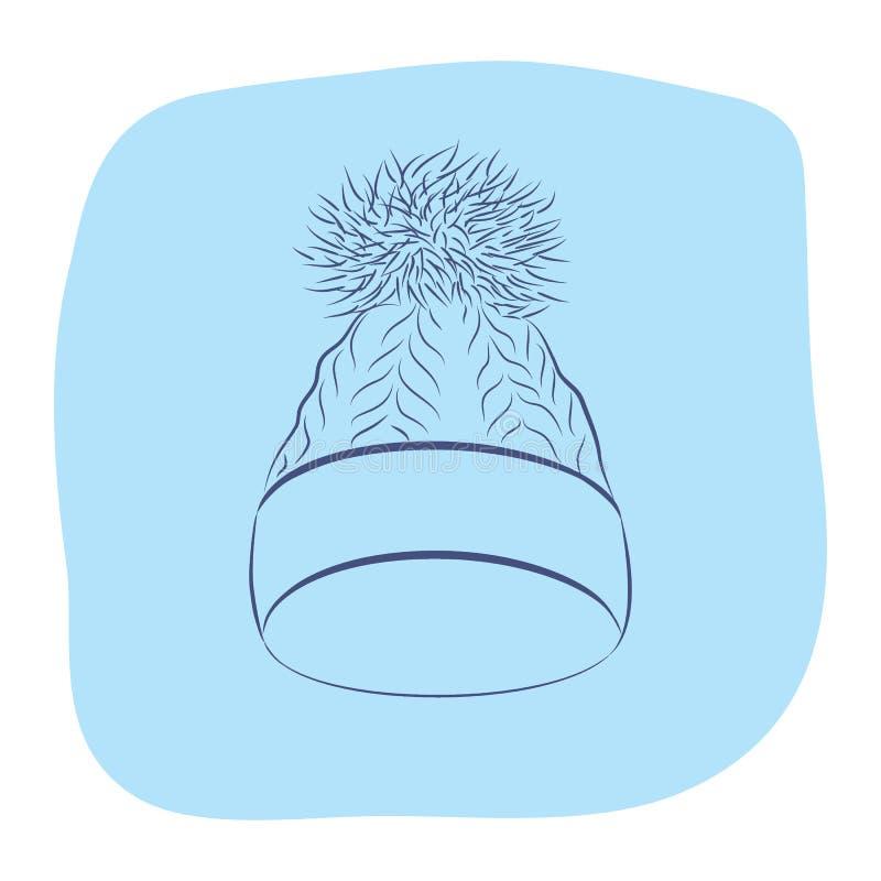 Een realistische gebreide hoed met een pompon De vrouwen vormen Toebehoren vector illustratie