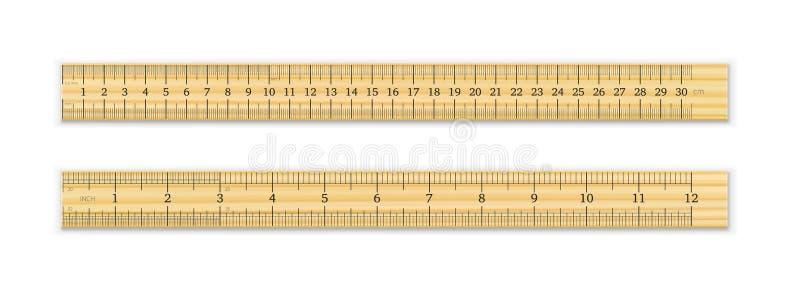 Een realistische houten heerser van 30 cm en 12 duim royalty-vrije illustratie