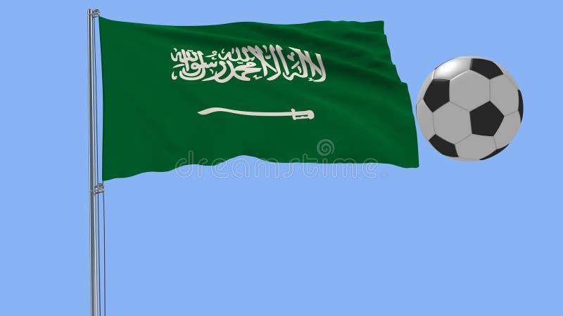 Een realistische voetbalbal en de realistisch fladderende vlag van Saudi-Arabië op een blauwe achtergrond, het 3d teruggeven stock illustratie