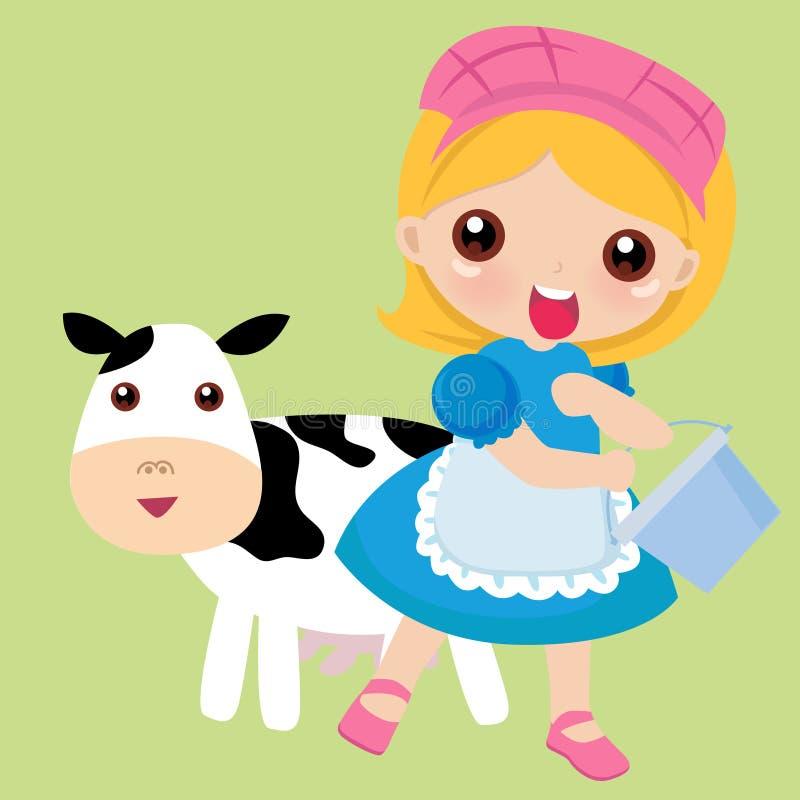 Een redhead meisje melkt een bevlekte koe stock illustratie