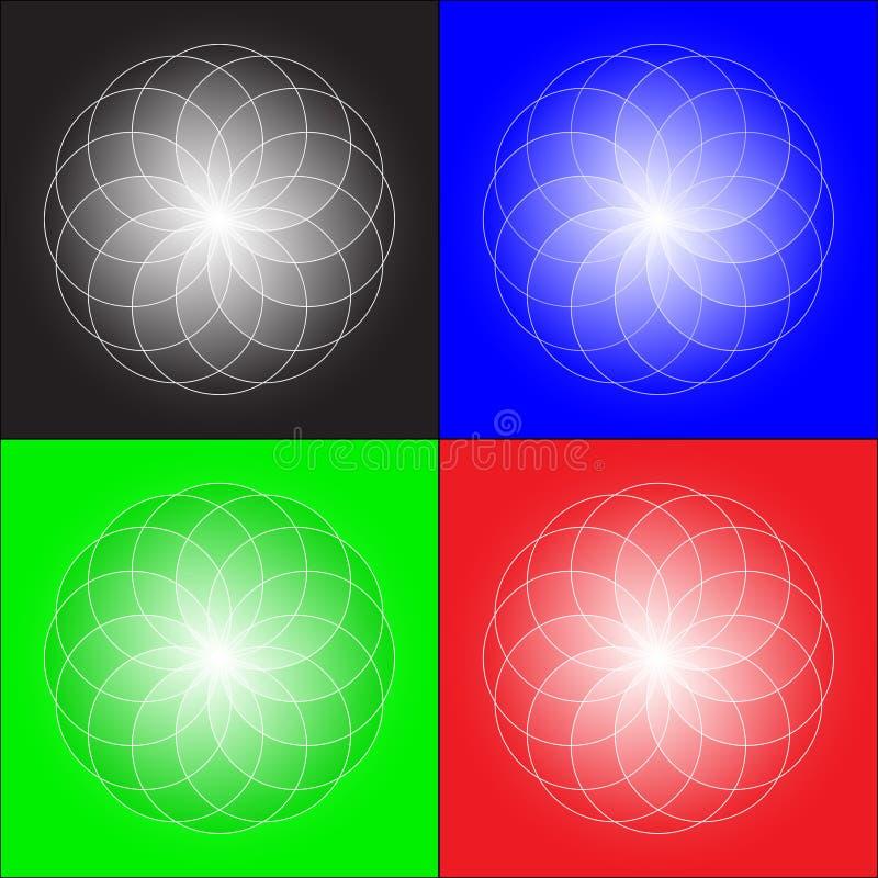 Een reeks abstracte die voorwerpen in Webtechnologie?n worden gebruikt, plaatsen, achtergronden stock illustratie