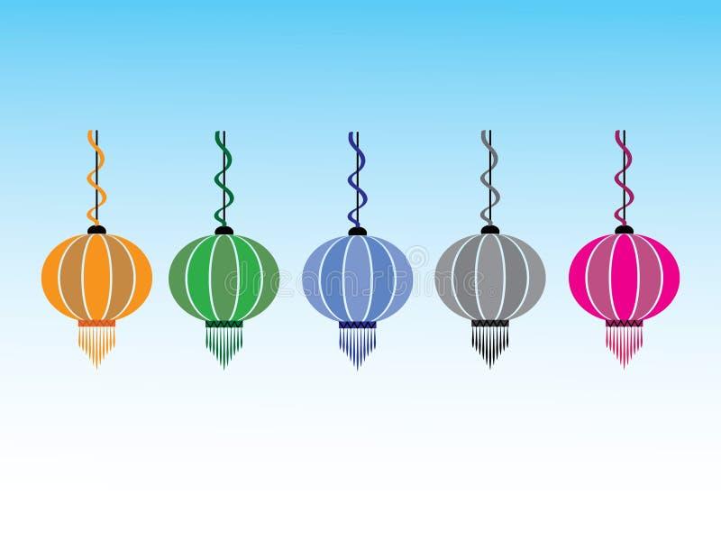 Een reeks artistieke Chinese traditionele lampen voor decoratie royalty-vrije illustratie