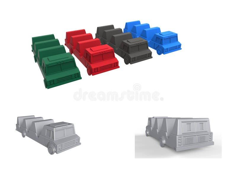 Een reeks beelden van tacovrachtwagens van vier kleuren royalty-vrije stock afbeeldingen