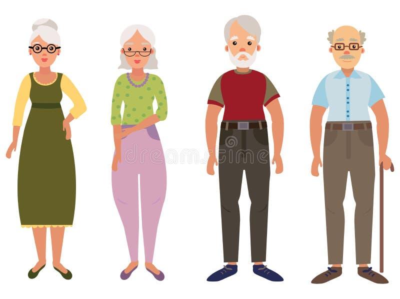 Een reeks bejaarde mensen Inzameling van oude mensen in beeldverhaalstijl De aannemer van de oude man Vector illustratie royalty-vrije illustratie