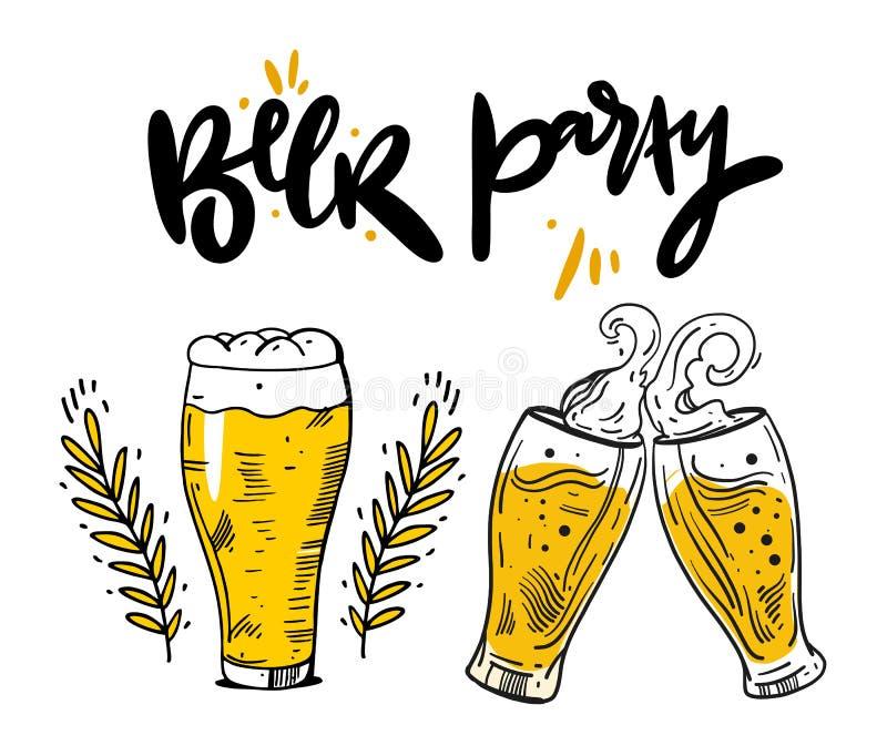 Een reeks bierglazen en de biermokken overhandigen getrokken vectorillustratie royalty-vrije illustratie