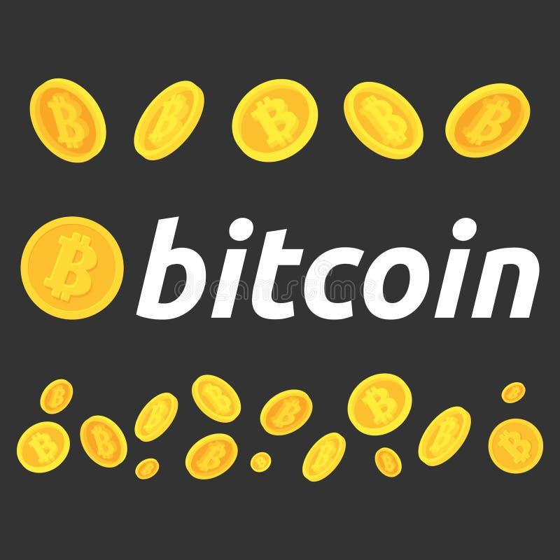 Een reeks bitcoins Verschillend stelt van bitcoins stock afbeelding