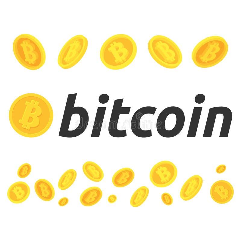 Een reeks bitcoins Verschillend stelt van bitcoins Een paar bitcoin tijdens de vlucht Cryptocurrency bitcoin, de effectenbeurs en royalty-vrije stock fotografie