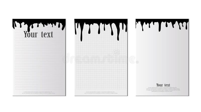 Een reeks A4-bladen met zwarte bevlekt het plakken op een blad van document Zwart abstract ontwerp Inktverf op brochure op wit stock illustratie