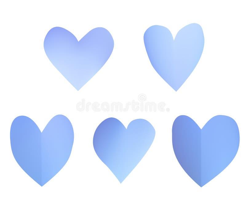 Een reeks blauwe document harten royalty-vrije illustratie
